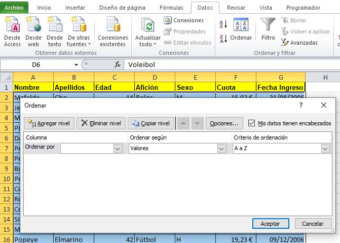 Ordenar bases de datos excel